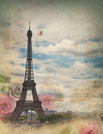 Carta in stile retrò con la torre Eiffel e le rose Archivio Fotografico - 18159659