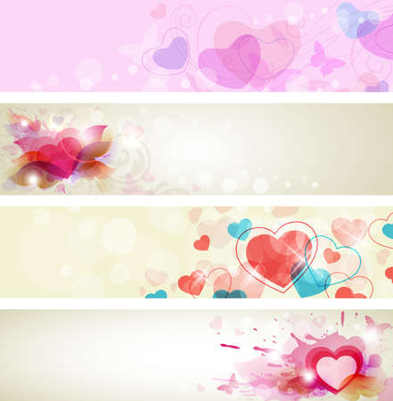 Vector romantic backgrounds with hearts for Valentine Vector