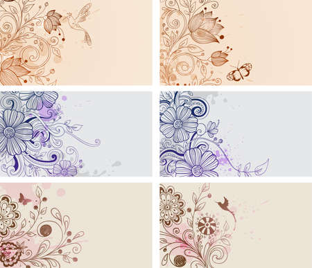 vintage hand drawn cards with flowers and butterflies Vector