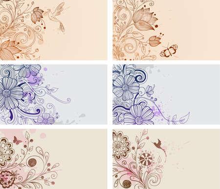 vintage tarjetas dibujadas a mano con flores y mariposas Ilustración de vector