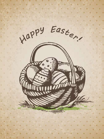 Vector hand drawn vintage background with Easter basket Vector