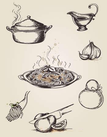 Pastas Conjunto de dibujado mano de la vendimia y vajilla