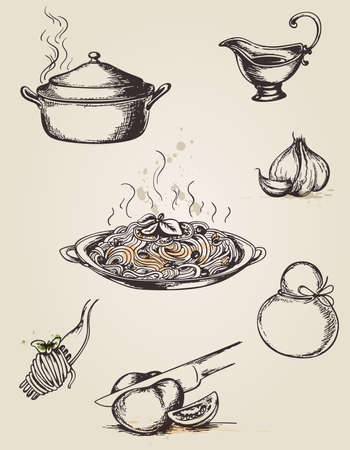italian pasta: Pastas Conjunto de dibujado mano de la vendimia y vajilla