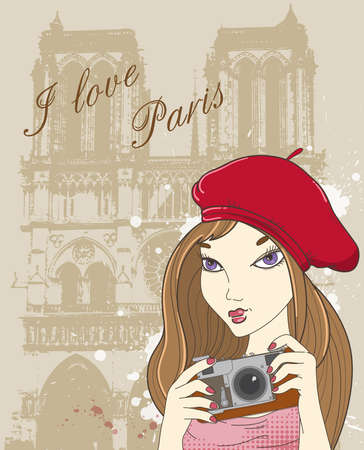 illustration background with girl photographer in Paris Vector
