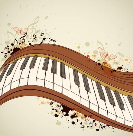 Music grunge background with piano and notes Ilustração