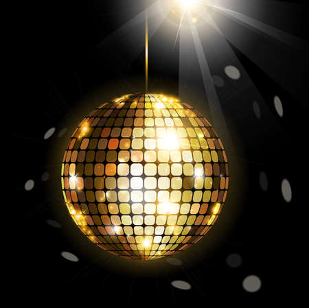 disco party: Black background with shining disco ball Illustration