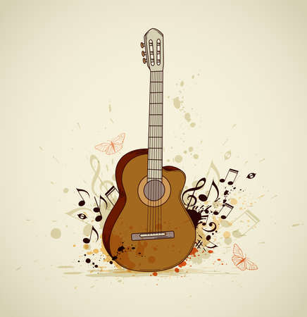 Music grunge background with guitar and notes Vector