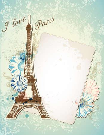 scrap booking: Vector blue background with old frame and  Eiffel tower