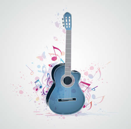Music abstract  background with guitar and notes Vector