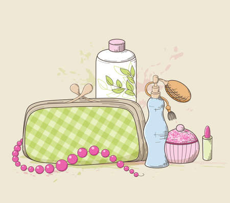 toiletry: Vector background with green handbag and cosmetics