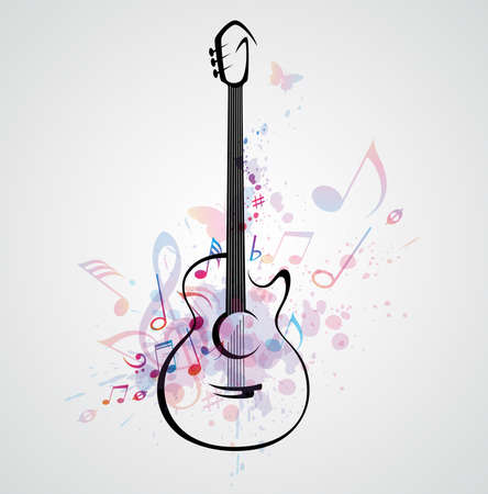 Vector stylized guitar on abstract background with notes Illustration
