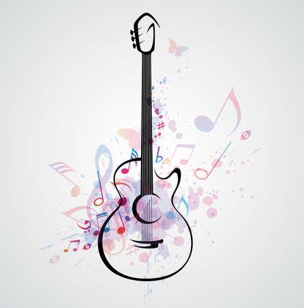 gitara: Vector stylizowane na gitarze na tle abstrakcyjne z notatkami