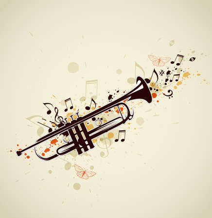 trumpet: Music abstract background with trumpet and notes