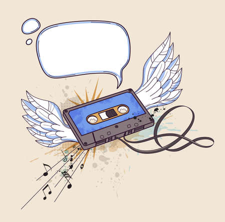 audio cassette: musical background with audio cassette and wings