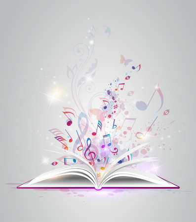 music abstract: Vector abstract background with open book and notes Illustration