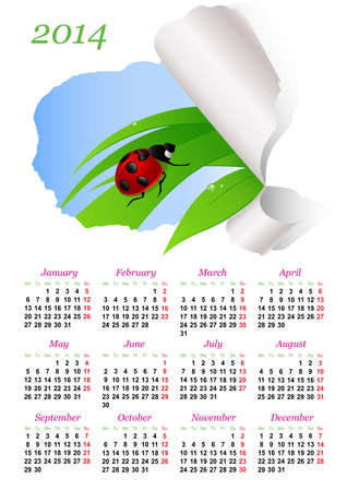 Calendar for 2014 with green grass and ladybird Stock Vector - 21410309