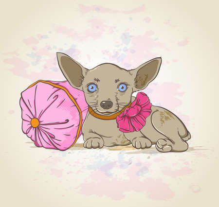 Small decorative dog with bow and  pink pillow
