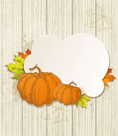 Autumn background with pumpkins and leaves Vector