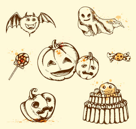 Set of vintage hand drawn Halloween elements