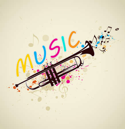 Music bright abstract background with trumpet and notes