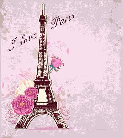eiffel tower: Vector de color rosa de fondo con las rosas y la torre Eiffel