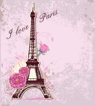 daisy flower: Vector pink background with roses and  Eiffel tower