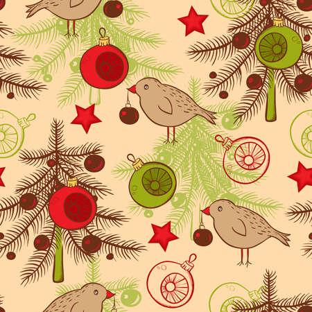 Vector seamless pattern with birds and Christmas tree Vector