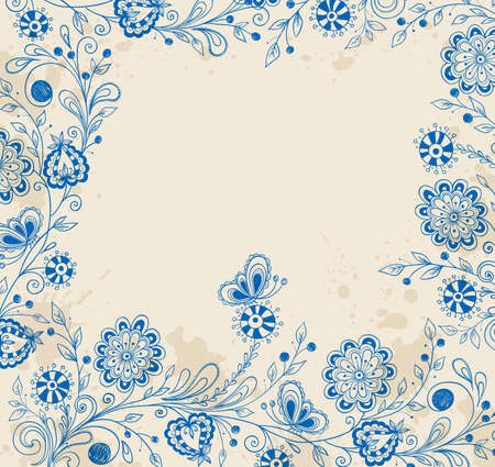 Vector decorative background with blue hand drawn flowers