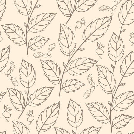 elm: autumn seamless pattern with elm branches