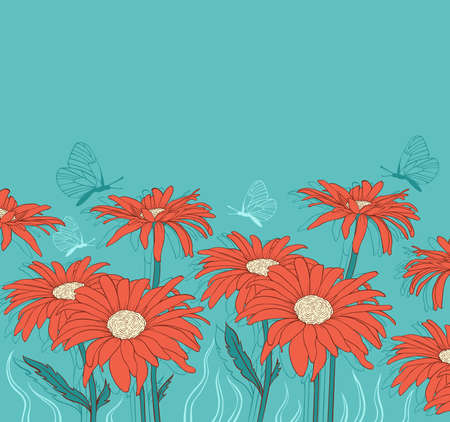Green floral background with red gerbera and butterflies Ilustração