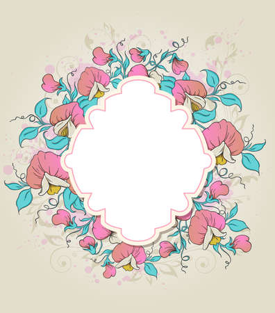 sweet pea: Vector floral background with label and sweet pea Illustration