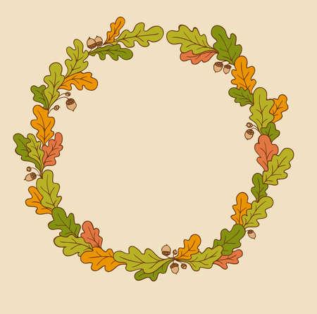 oak wreath: Decorative vector autumn wreath of oak branches