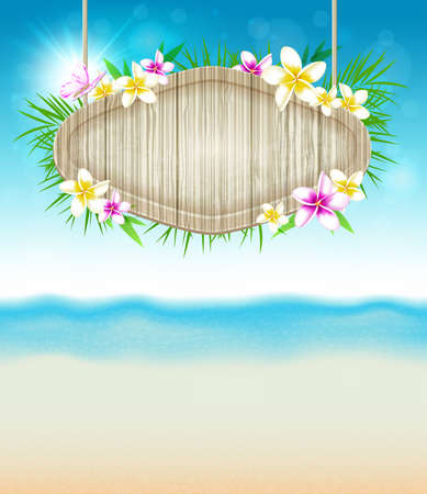 sea flowers: Summer vector tropical background with flowers and wooden banner