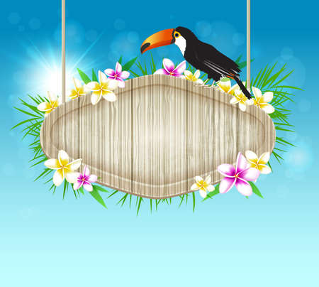 Summer vector tropical background with toucan and wooden banner Vector
