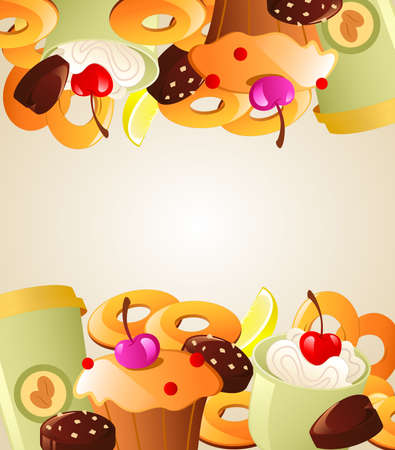 bagels: Background with sweet cakes, bagels and candy
