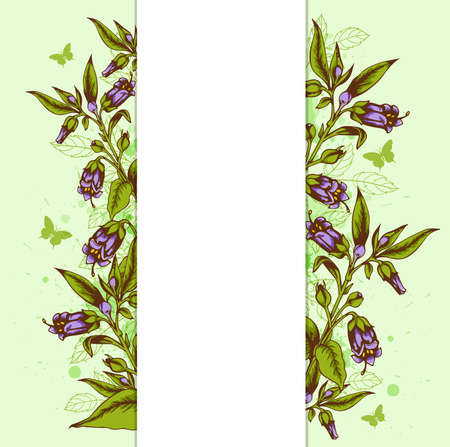 bellflower: Green vector floral background with bellflower and leaves