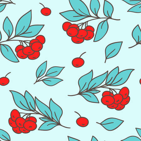 rowanberry: Vector seamless pattern with red rowanberry