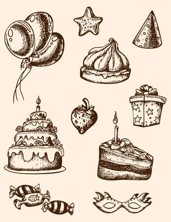 party mask: Vector vintage hand drawn birthday elements for design Illustration