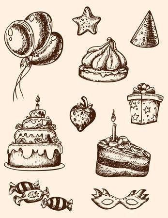 strawberry cake: Vector vintage hand drawn birthday elements for design Illustration