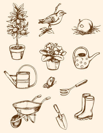 Set of vintage hand drawn garden tools Vector