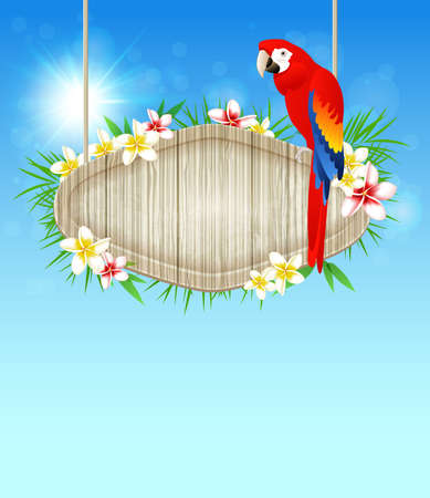 Summer blue  background with red parrot and flowers  Vector