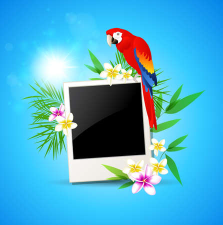 Summer blue  background with red parrot and photo Vector