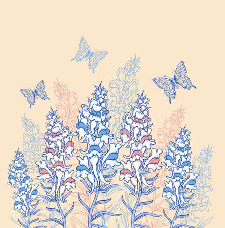 background with blue and pink wildflowers