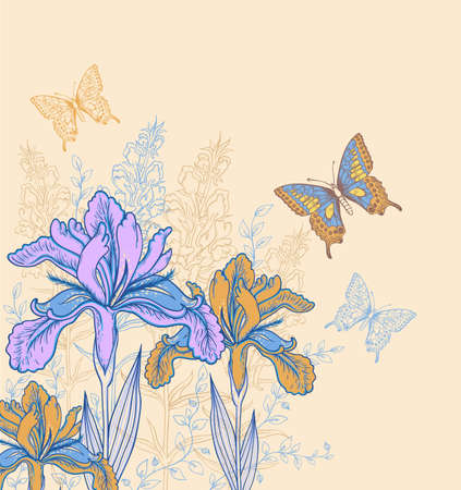 Decorative vector background with flowers and butterflies Фото со стока - 29858282