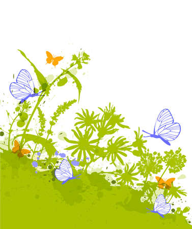 Green decorative floral background with blue butterflies