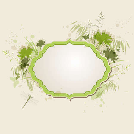 oat field: Decorative green floral background with dragonfly Illustration
