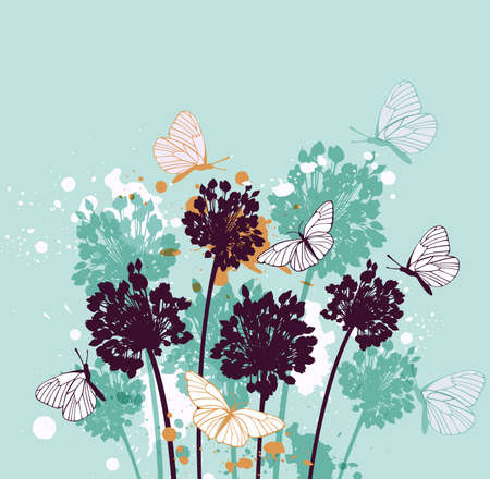 Green decorative background with butterflies and wildflowers
