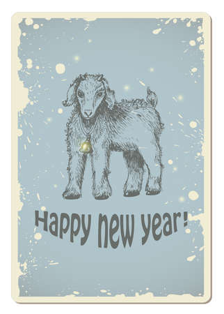 yeanling: Vintage vector new year card with yeanling