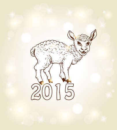yeanling: Hand drawn vector new year card with yeanling