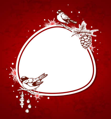 Red Christmas vector  background with birds and decorations Vector